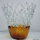 "11"" Hand Blown Murano Art Glass Amber Clear Gold Web Bowl Vase Sculpture IMAX"