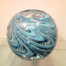 "New 7"" Hand Blown Glass Murano Art Style Vase Bowl Blue"