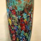 """New 12"""" Hand Blown Glass Murano Art Style Vase Blue Italian Millefiori Muticolor"""