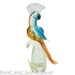 """14"""" Hand Blown Glass Murano Art Style Parrot Cockatoo Bird Figurine Sculpture"""