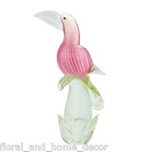 "13"" Hand Blown Glass Murano Art Style Parrot Tuscan Macaw Bird Figurine Statue"