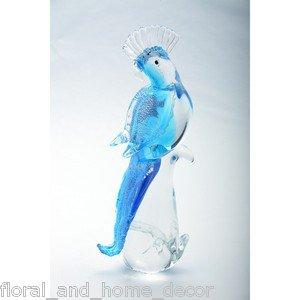 "12"" Hand Blown Glass Murano Art Style Parrot Cockatoo Bird Figurine Blue"