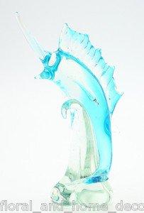 "New 13"" Hand Blown Glass Sword Fish Sculpture Figurine Statue Marlin Blue"