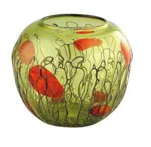 """New 12"""" Hand Blown Art Glass Bowl Amber Green"""