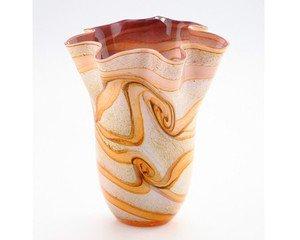 11� Hand Blown Glass Murano Art Style Vase Brown Amber White Handkerchief Ruffle