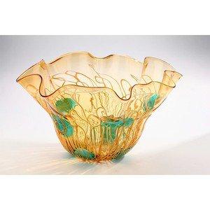 "New 21"" Hand Blown Art Glass Bowl Amber Green Handkerchief Ruffle"