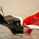 "New 13"" Hand Blown Glass Murano Art Style Bowl  Red White Black"