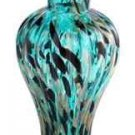 "New 12"" Hand Blown Glass Murano Art Style Vase Blue Black Gold"