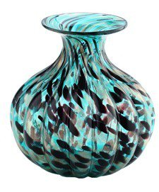 "New 10"" Hand Blown Glass Murano Art Style Vase Bowl Blue Black Gold"