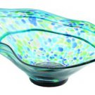 "New 22"" Hand Blown Glass Murano Art Style Bowl Blue Green Italian"