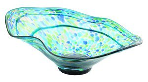 "New 22"" Hand Blown Glass Murano Art Style Bowl Blue Green Italian"
