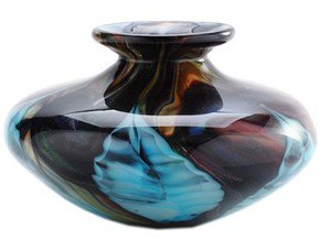 "New 6"" Hand Blown Glass Art Vase Bowl Blue Black Multi-Colored Feathers"