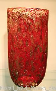 """New 13"""" Hand Blown Glass Murano Art Style Oval Vase Red Gold Italian"""