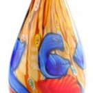 "14"" Hand Blown Glass Teardrop Art Vase Blue Red Yellow Muti-colored Millefiori"