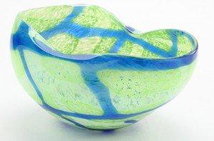 """New 14"""" Hand Blown Glass Murano Art Style Bowl  Blue GreenHandkerchief Ruffle"""