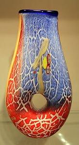 "14"" Hand Blown Art Glass Teardrop Doughnut Hole Vase Millefiori Blue Red White"