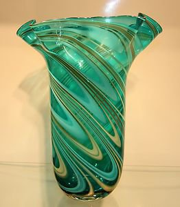 "New 14"" Hand Blown Glass Murano Art Style Vase Blue Handkerchief Ruffle Fluted"