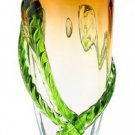 "New 12"" Hand Blown Glass Art Vase Green Amber 3D Rope"