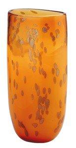 """New 14"""" Hand Blown Glass Murano Art Style Vase Amber Gold Italian"""