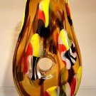 "14"" Hand Blown Art Glass Teardrop Doughnut Hole Vase Multi-Color Yellow Black"