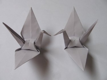 "100 LARGE GREY ORIGAMI CRANES FOR WEDDING DECORATIONS 6"" X 6"""