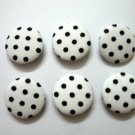 FABRIC BUTTONS - 1 INCH BUTTONS - BLACK POLKA DOT PRINT ON WHITE SET OF 50