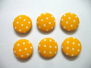 FABRIC BUTTONS - 1 INCH BUTTONS - WHITE POLKA DOT PRINT ON YELLOW SET OF 50
