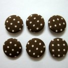 FABRIC BUTTONS - 1 INCH BUTTONS - WHITE POLKA DOT PRINT ON BROWN SET OF 50