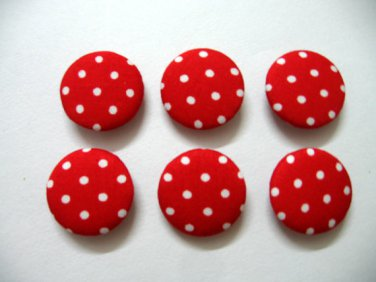 FABRIC BUTTONS - 1 INCH BUTTONS - WHITE POLKA DOT PRINT ON RED SET OF 50