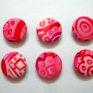 FABRIC BUTTONS - 1 INCH BUTTONS - FLORAL PINK SET OF 50