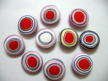 FABRIC BUTTONS - 1 INCH BUTTONS - IRREGULAR RED AND WHITE DOT SET OF 50