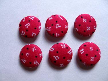 FABRIC BUTTONS - 1 INCH BUTTONS - ALPHABET PRINT ON PINK SET OF 50