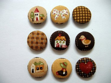 FABRIC BUTTONS - 1 INCH BUTTONS - HAPPY FARM PRINT SET OF 50