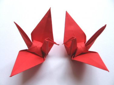"100 LARGE RED ORIGAMI CRANES FOR WEDDING DECORATIONS 6"" X 6"""