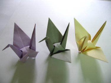 "YOU PICK - 100 LARGE PURPLE /GREY / IVORY ORIGAMI CRANES FOR WEDDING DECORATIONS 6"" X 6"""