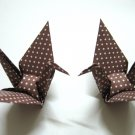 "100 LARGE POLKA DOT ON BROWN ORIGAMI CRANES FOR WEDDING DECORATIONS 5"" X 5"""