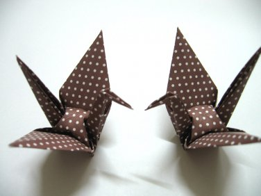"""100 LARGE POLKA DOT ON BROWN ORIGAMI CRANES FOR WEDDING DECORATIONS 5"""" X 5"""""""