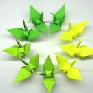 "100 LARGE GREEN COLORS ORIGAMI CRANES FOR WEDDING DECORATIONS 6"" X 6"""