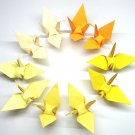 "100 LARGE YELLOW 5 SHADES COLORS ORIGAMI CRANES FOR WEDDING DECORATIONS 6"" X 6"""
