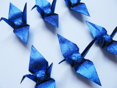 "100 SMALL SHINY ROYAL BLUE ORIGAMI CRANES FOR WEDDING DECORATIONS 3.5"" X 3.5"""