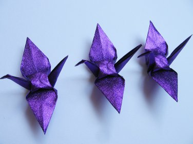 "100 SMALL SHINY PURPLE ORIGAMI CRANES FOR WEDDING DECORATIONS 3.5"" X 3.5"""