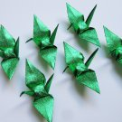 "100 SMALL SHINY GREEN ORIGAMI CRANES FOR WEDDING DECORATIONS 3.5"" X 3.5"""