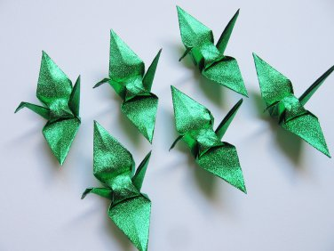 """100 SMALL SHINY GREEN ORIGAMI CRANES FOR WEDDING DECORATIONS 3.5"""" X 3.5"""""""