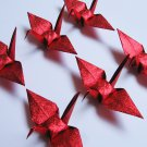 "100 SMALL SHINY RED ORIGAMI CRANES FOR WEDDING DECORATIONS 3.5"" X 3.5"""