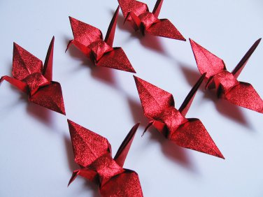 """100 SMALL SHINY RED ORIGAMI CRANES FOR WEDDING DECORATIONS 3.5"""" X 3.5"""""""