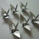 "100 SMALL SHINY SILVER ORIGAMI CRANES FOR WEDDING DECORATIONS 3.5"" X 3.5"""