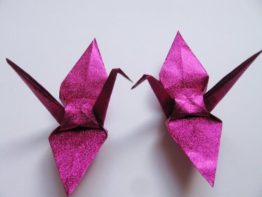 "100 LARGE SHINY PINK ORIGAMI CRANES FOR WEDDING DECORATIONS 6"" X 6"""