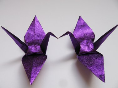 "100 LARGE SHINY PURPLE ORIGAMI CRANES FOR WEDDING DECORATIONS 6"" X 6"""