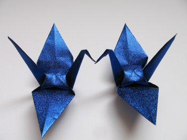 "100 LARGE SHINY ROYAL BLUE ORIGAMI CRANES FOR WEDDING DECORATIONS 6"" X 6"""