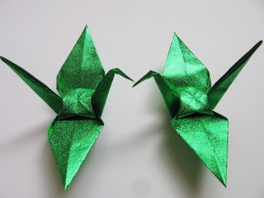 """100 LARGE SHINY GREEN ORIGAMI CRANES FOR WEDDING DECORATIONS 6"""" X 6"""""""